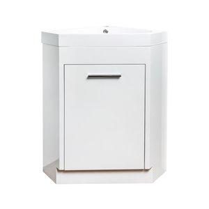 GEF Harlem Corner Vanity with 1-Door - Acrylic Top - White - 18-in