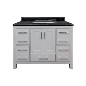 GEF Chester Vanity with 2-Door/5-Drawer - Black Granite Top - 42-in - Grey