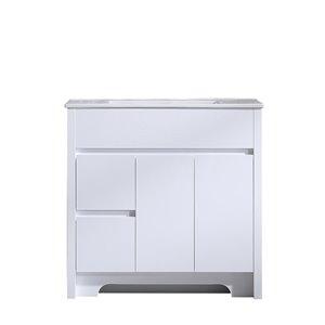 GEF Luna Vanity with 2-Door/2-Drawer - White Ceramic Top - White - 36-in