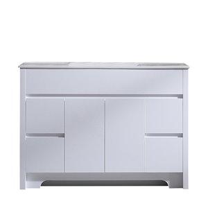 GEF Luna Vanity with 4-Door/4-Drawer - White Ceramic Top - White - 48-in
