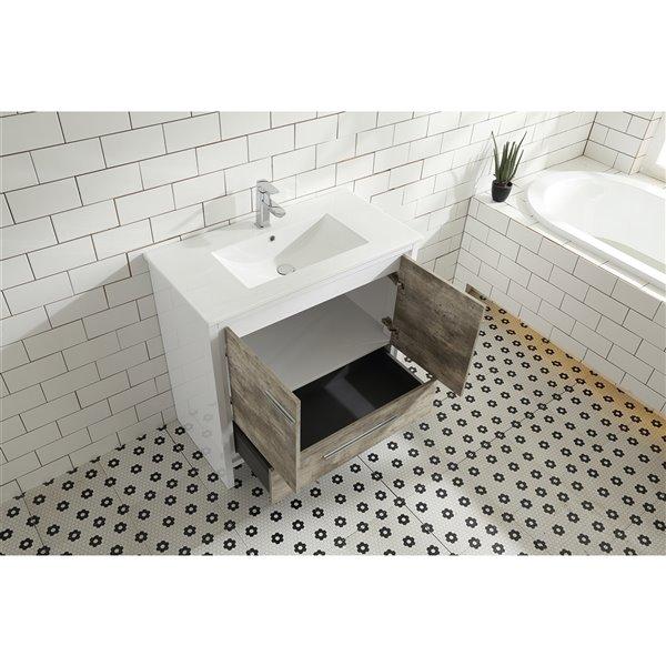 Meuble-lavabo Abbey de GEF avec 2 portes/1 tiroir, comptoir céramique, cendre, 36 po
