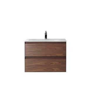 Meuble-lavabo Sage de GEF avec 2 tiroirs, comptoir surface solide, noyer, 30 po