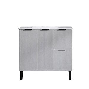 Meuble-lavabo Riley de GEF avec 2 portes/2 tiroirs, comptoir céramique, ciment, 36 po