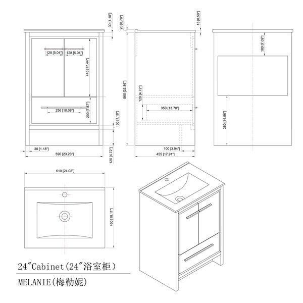 GEF Abbey Vanity with 2-Door/1-Drawer- Ceramic Top - Ash - 24-in