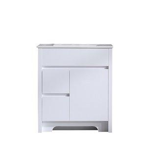 GEF Luna Vanity with 2-Door/2-Drawer - Ceramic Top - White - 30-in