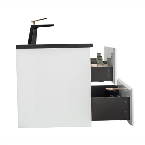 GEF Sadie Vanity with 2-Drawer - Black Quartz Top - White - 24-in