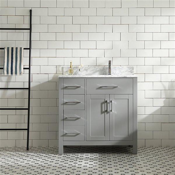 Meuble-lavabo Chester de GEF avec 2 portes/3 tiroirs, comptoir marbe Carrara, gris, 36 po