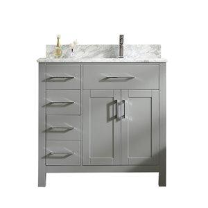 GEF Chester Vanity with 2-Door/3-Drawer - Carrara Marble Top - Grey - 36-in