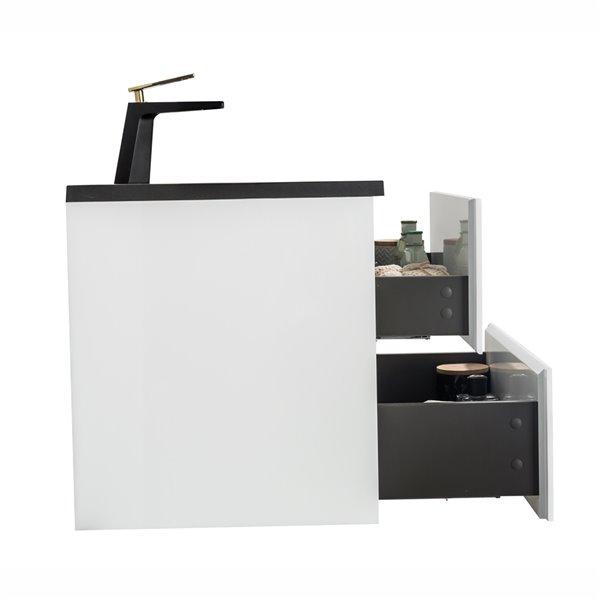 GEF Sadie Vanity with 2-Drawer - Black Quartz Top - White - 48-in