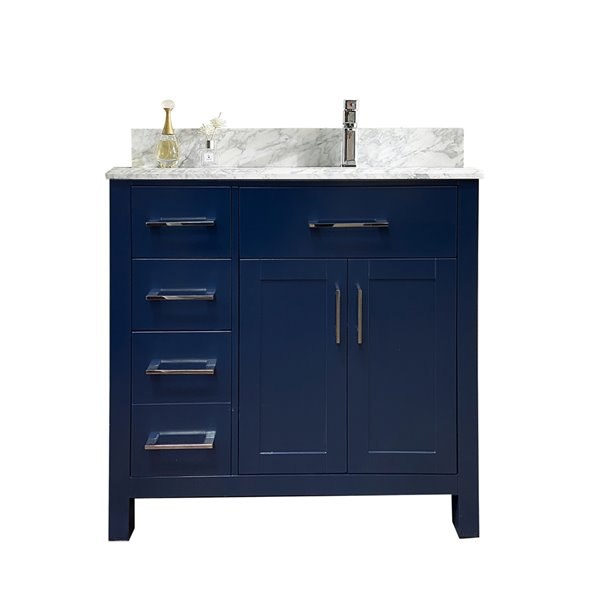 GEF Chester Vanity - Carrara Marble Top - 36-in - Blue