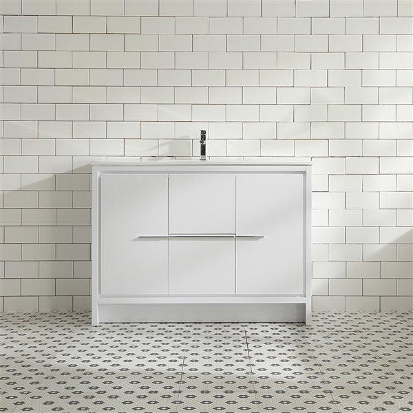 Meuble-lavabo Abbey de GEF avec 2 portes/2 tiroirs, comptoir céramique, blanc, 48 po