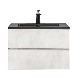 GEF Sadie Vanity with 2-Drawer Black Quartz Top - Gray - 30-in