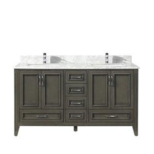 GEF Kendra Vanity with 4-Door/6-Drawer - Carrara Marble Top - Gray - 60-in