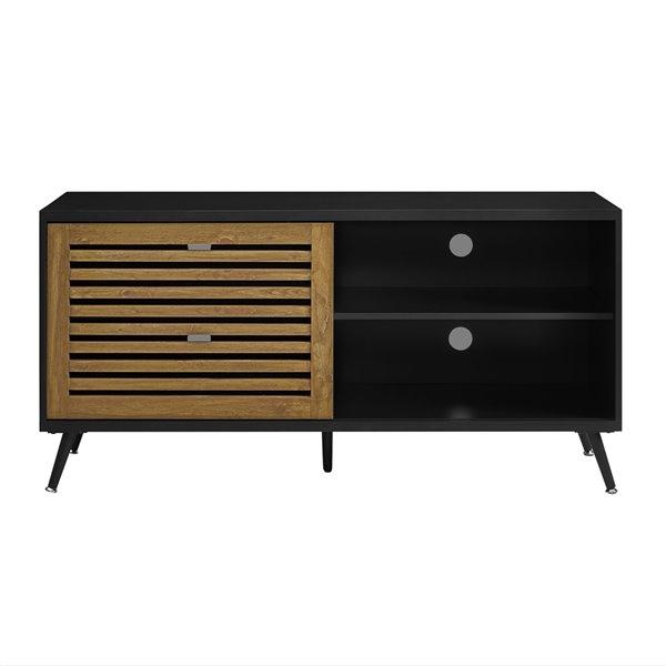 Walker Edison Mid-Century TV Cabinet - 52-in x 26-in - Black/Barnwood
