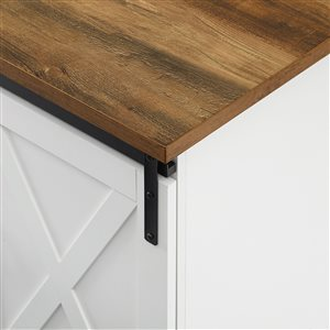 Walker Edison Farmhouse TV Cabinet - 58-in x 28-in - White/Rustic Oak