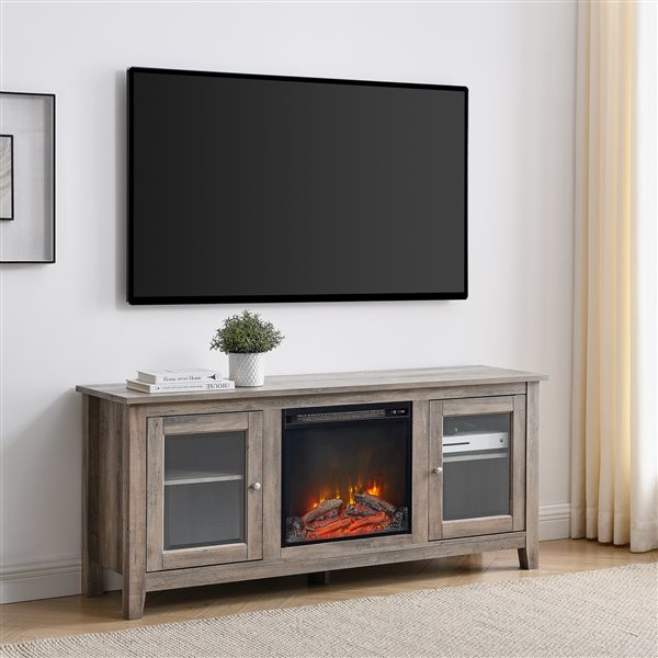 Walker Edison Farmhouse Fireplace TV Stand with 2 Doors - 58-in x 24-in - Grey