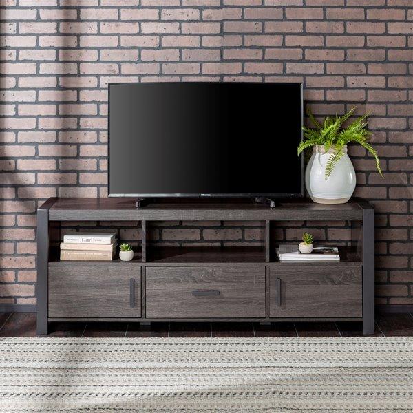 Walker Edison Industrial TV Cabinet - 60-in x 22-in - Charcoal