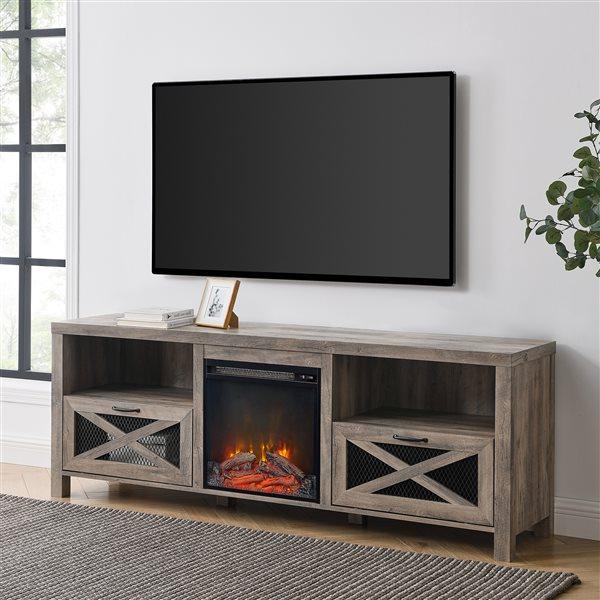 Walker Edison Farmhouse Fireplace TV Stand - 70-in x 25-in - Grey