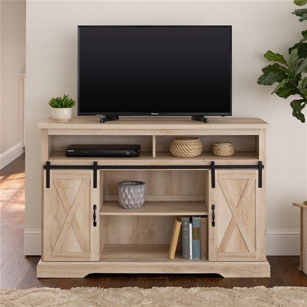 Walker Edison Farmhouse TV Cabinet - 52-in x 33-in - White Oak