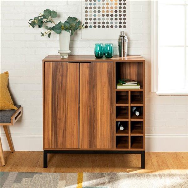 Walker Edison Modern Wine Storage Cabinet - 34-in - Teak Wood