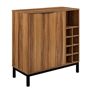 Walker Edison Modern Wine Storage Cabinet - 34-in - Teak Wood