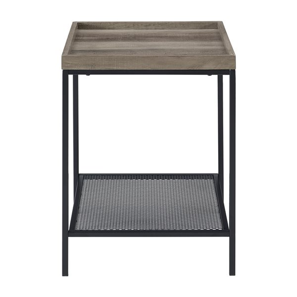 Walker Edison Industrial End Table - 18-in x 24-in - Black/Light Grey