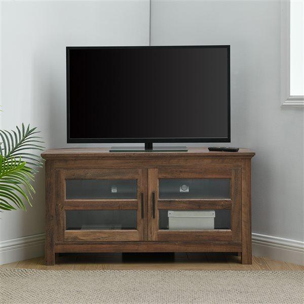 Walker Edison Country Corner TV Stand - 44-in x 23-in - Rustic Oak