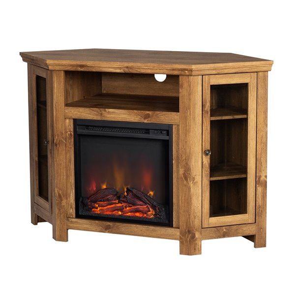 Walker Edison Casual Fireplace Tv Stand, Dark Cherry Wood Fireplace Tv Stand