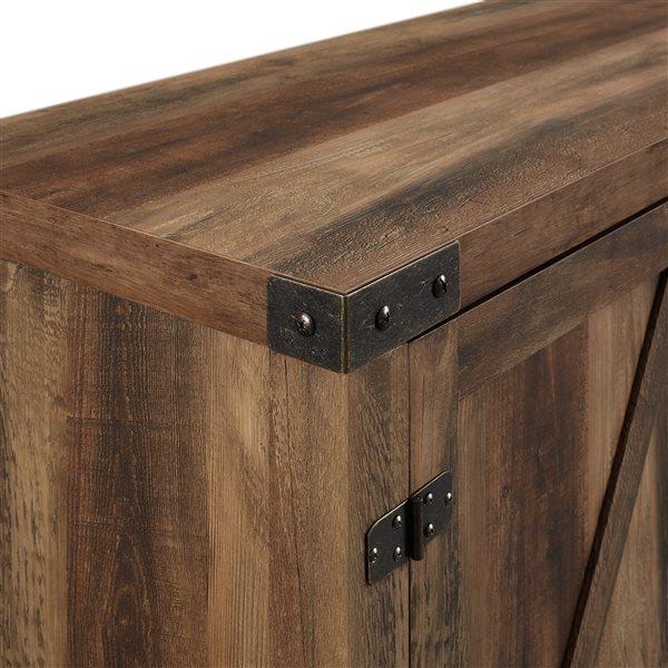 Walker Edison Farmhouse Fireplace TV Stand - 58-in x 25-in - Rustic Oak