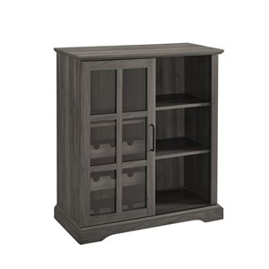 Walker Edison Wine Storage Cabinet - Sliding Glass Door - 36-in - Slate Grey