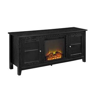 Walker Edison Farmhouse Fireplace TV Stand - 58-in x 24-in - Black