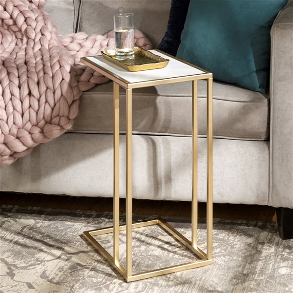 Walker Edison Modern End Table - 12-in x 24-in - Black/White Faux Marble