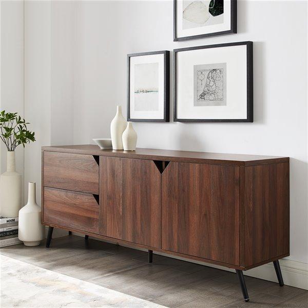 Walker Edison Mid-Century TV Cabinet - 60-in x 25.25-in - Dark Walnut