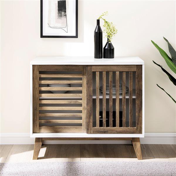 Walker Edison Modern TV Cabinet - 36-in x 32-in - White/Rustic Oak