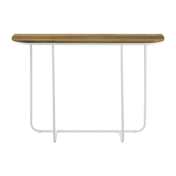 Walker Edison Modern End Table - 44-in x 30-in - White/Reclaimed Barnwood