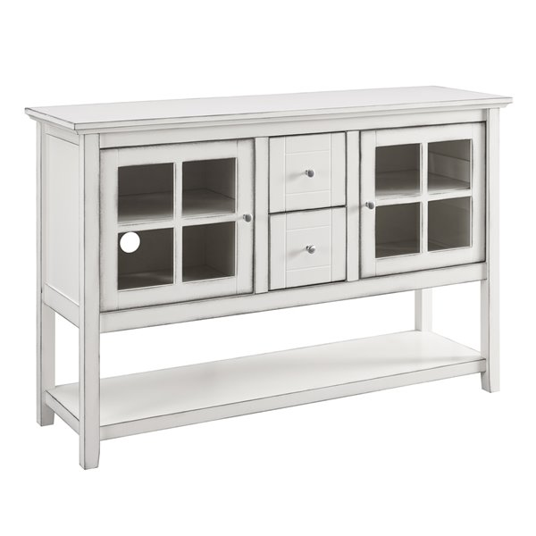 Walker Edison Console Table And Tv Cabinet 52 In X 16 35 Antique White Lw52c4ctawh Rona - Antique White Console Table With Storage