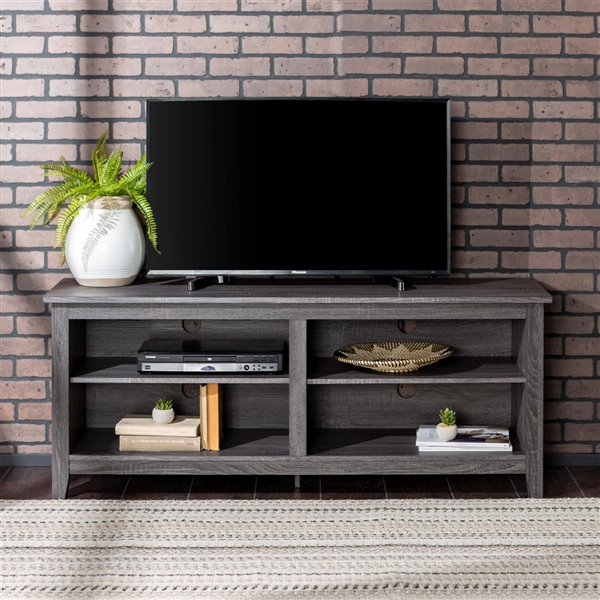 Walker Edison Casual TV Cabinet - 58-in x 24-in - Charcoal