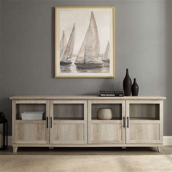 Walker Edison Modern TV Cabinet - 70-in x 25-in - White Oak