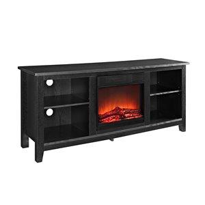 Walker Edison Farmhouse Fireplace TV Stand - 58-in x 25-in - Black