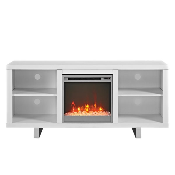 Walker Edison Modern Fireplace TV Stand - 58-in x 26-in - White