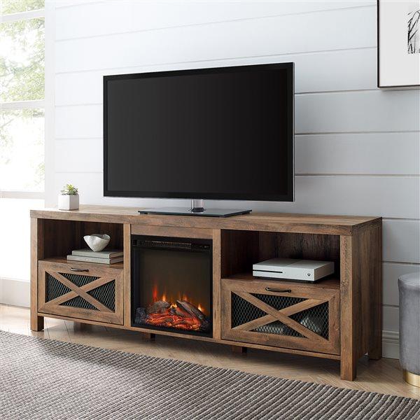 Walker Edison Farmhouse Fireplace Tv Stand 70 In X 25 In Rustic Oak Lw70fpabro Rona