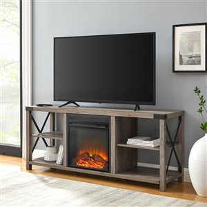 Walker Edison Industrial Fireplace TV Stand - 60-in x 25-in - Grey
