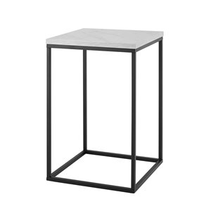 Walker Edison Glam End Table - 16-in x 24-in - Black/White Faux Marble