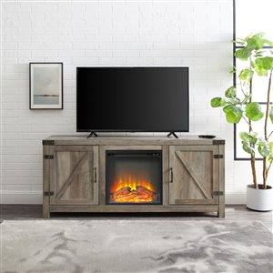 Walker Edison Farmhouse Fireplace TV Stand - 58-in x 25-in - Grey