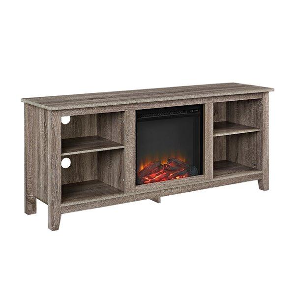 Walker Edison Modern Fireplace TV Stand - 58-in x 25-in - Grey
