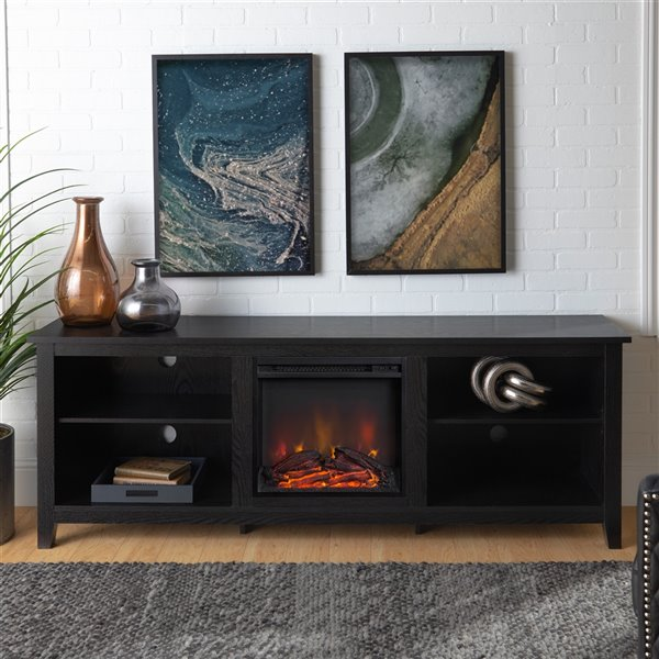 Walker Edison Farmhouse Fireplace TV Stand - 70-in x 24-in - Black