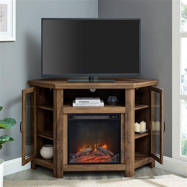 Walker Edison Casual Fireplace TV Stand - 48-in x 32-in - Rustic Oak