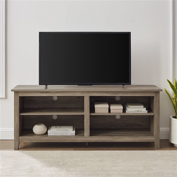 Walker Edison Casual TV Cabinet with Open Storage - 58-in x 24-in - Grey
