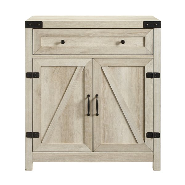 Walker Edison Farmhouse Storage Accent Cabinet - 30-in x 33-in - White Oak