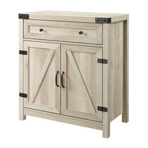Walker Edison Farmhouse Storage Accent Cabinet - 30-in x 33-in - White Oak